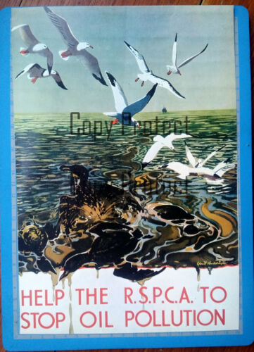 STOP OIL POLLUTION RSPCA Pollution maritime   poster affiche document clipping