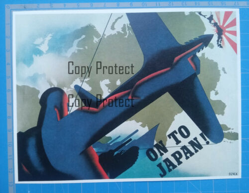 ON TO JAPAN poster USA against Japan affiche SEVEK 1945  document clipping