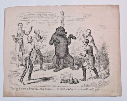 """1830's Cruikshank Etching """"Trying To Cure Bear Of A Sore Head"""" Art Print Etching"""