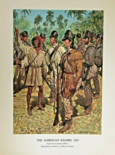 Vintage McBarron Military Art Print The American Soldier 1839 Indian Scout