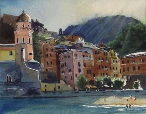Giclee PRINT Cinque Terre Landscape Italy Painting Art Watercolor European Beach