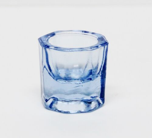 GLASS DAPPEN DISH - BLUE ACRYLIC LIQUID HOLDER CONTAINER DENTAL COSMETOLOGY