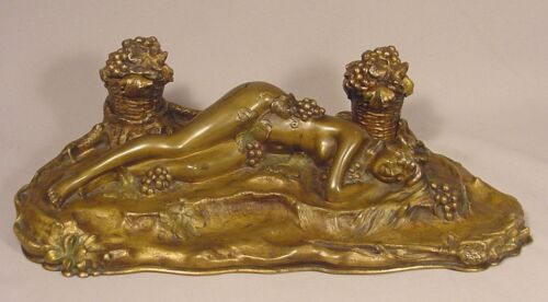 Antique Sleeping Nude Nymph Bronze Desk Sculpture Ink Wells Signed P Philippe