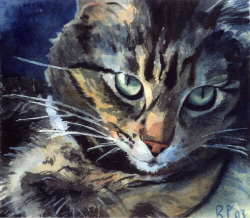 Giclee PRINT Maine Coon Tabby Cat Art Painting Pet Portrait Grey Gray