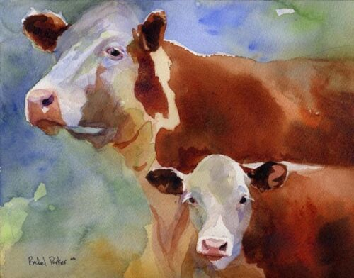 Giclee Print  Hereford Cow Painting Art  Farm Southwest watercolor painting