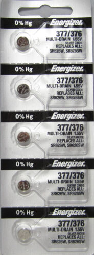 5 NEW ENERGIZER 377 376 SR626SW SR626W watch battery