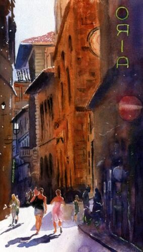 Giclee PRINT Rome European Landscape Cityscape Painting Art Italy watercolor