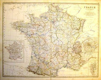 Keith Johnston's Map - FRANCE (In Departments) - c1865