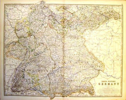 Keith Johnston's Map - SOUTH WEST GERMANY - c1865