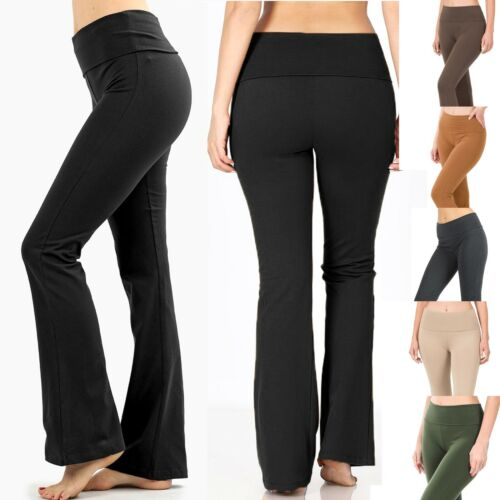 YOGA Pants Basic Long Fitness Foldover Waist Plain Womens Workout Gym Zenana