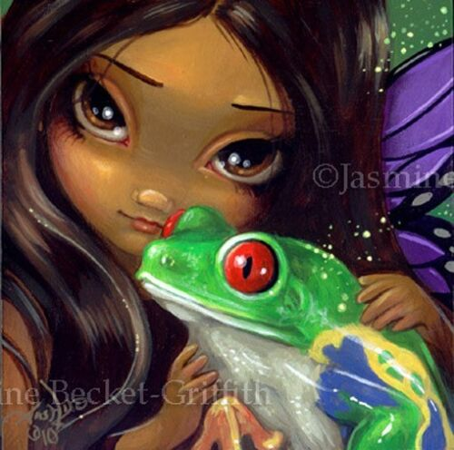 Fairy Face 93 Jasmine Becket-Griffith Art Magic Frog Butterfly SIGNED 6x6 PRINT