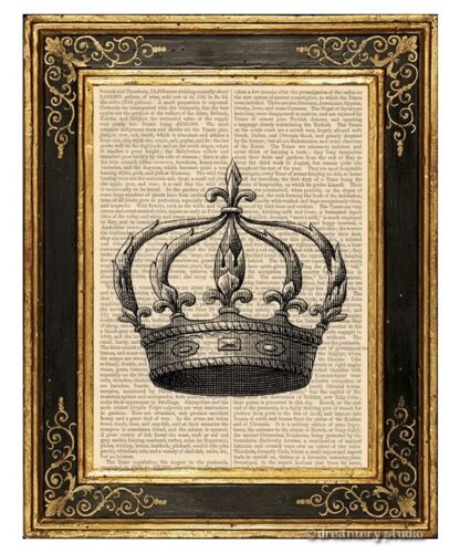 Crown #5 Art Print on Vintage Book Page Royal Home Nursery Hanging Decor Gifts