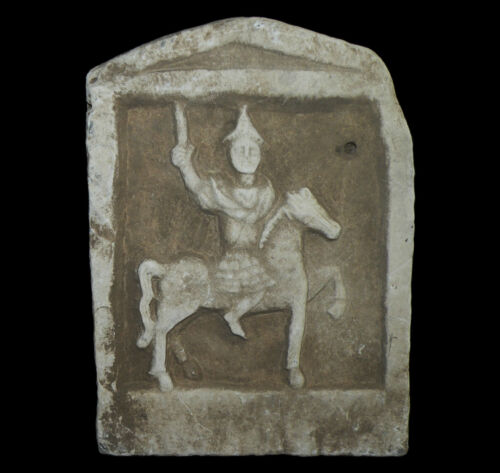 ANCIENT ROMAN MARBLE STELE DEDICATED TO THE THRACIAN HORSEMAN