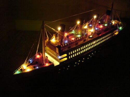 Titanic wooden model cruise ship w/flashing lights 24""