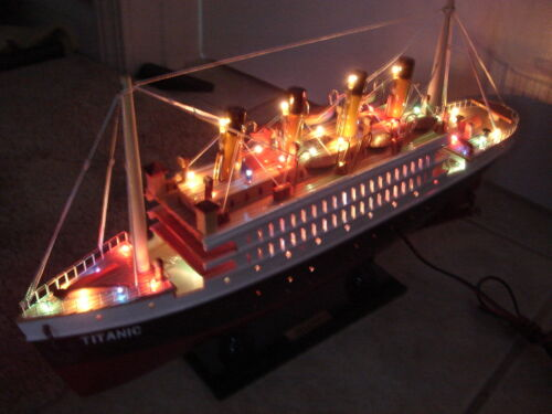 Titanic wooden model cruise ship with flashing light 16""