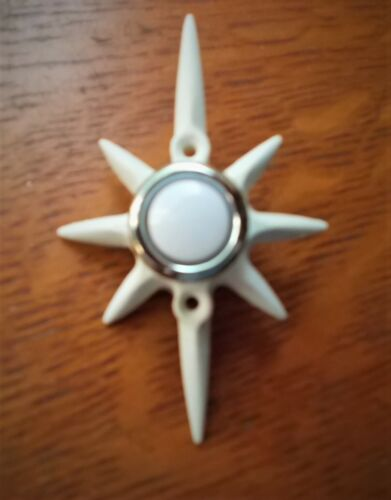 New Mid Century White Star Resin Doorbell Button