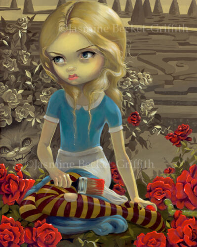 Jasmine Becket-Griffith art print SIGNED Painting the Roses Red alice wonderland
