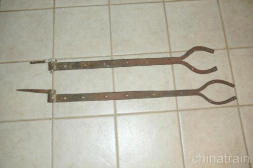 "2 Antique 35 38"" x 1.7"" Heavy Hand Forged Iron Steel Barn Door Strap Hinges"