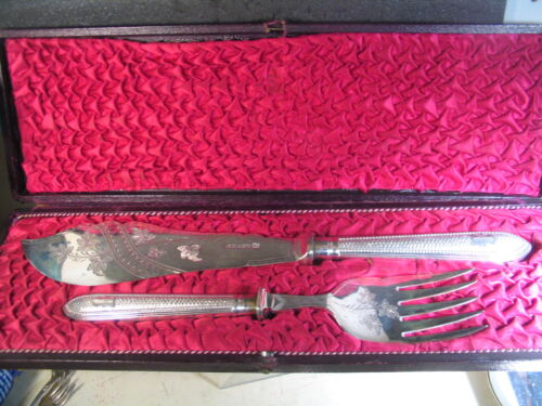Vintage Silverplate 19th Century 2pc FISH SET KNIFE & FORK w/ Box