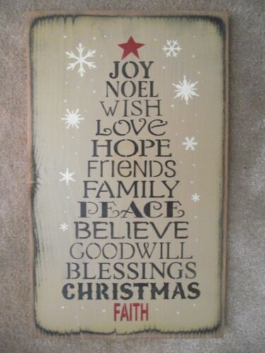 CHRISTMAS TREE WORD SIGN, noel,love,hope,friends,peace,family,believe,goodwill