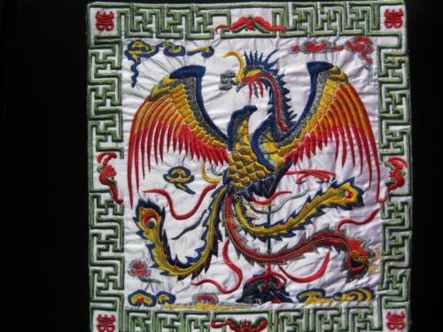 Square Chinese antique royal light pink phoenix machinemade embroidery 22937