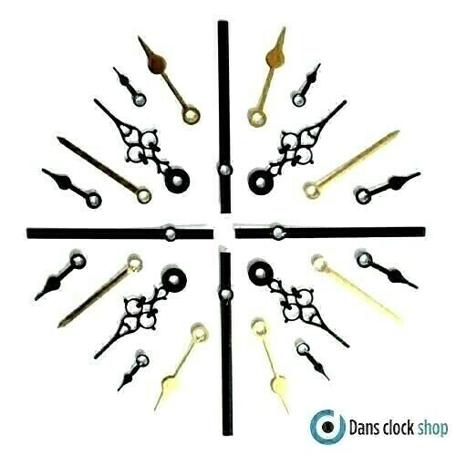 New Replacement Quartz Metal Clock Hands For Clock Movement Mechanism Press Fit  <br/> Sizes 24mm - 130mm - Any Mixed Combinations Available