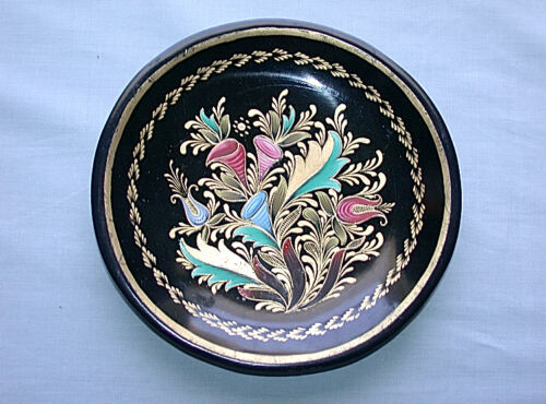 Beautiful Antique Hand Made & Painted Art Nouveau Floral Bouquet Wood Dish