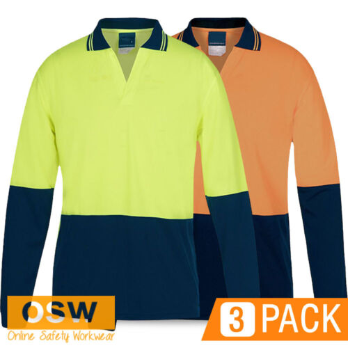 3 X HI VIS LONG SLEEVE WORK COOL FOOD INDUSTRY POLO SHIRT - NO POCKETS/BUTTONS