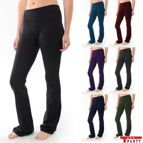 YOGA Fitness Foldover Pants Flare Leg Long Womens Athletic Workout Gym T-Party