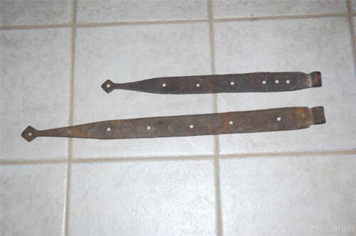 """2 Antique 19/26"""" x 2"""" Hand Forged Iron Steel Barn Door Wall Gate Strap Hinges"""