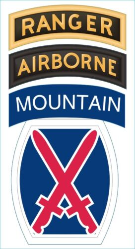 """Army 10th Mountain Airborne Ranger Patch 5.5"""" Sticker 'Officially Licensed'Army - 66529"""