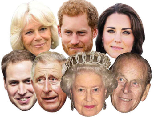 Royal Family Variety Seven 7 Pack Fun CARD Party Face Masks with Kate & William