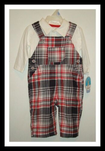 NWT CARTER'S CHILD OF MINE 2 PC. PLAID POLO TOP & OVERALLS BOY 3-6 OR 6-9 MONTHS