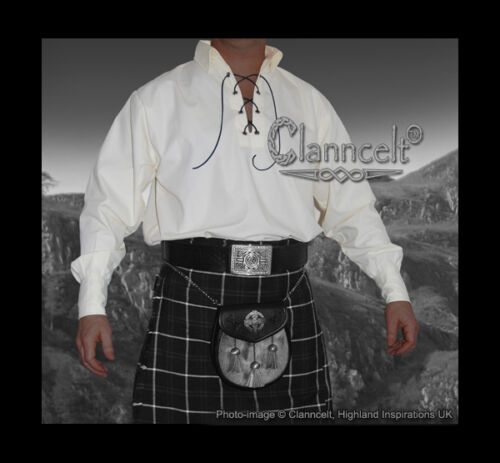GHILLIE JACOBITE SHIRT FOR SCOTTISH KILT - White, Black, Cream, Green or Blue
