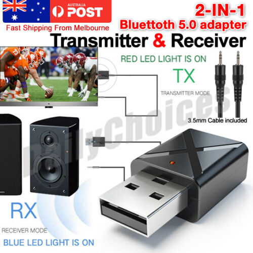 USB Bluetooth 5.0 Transmitter Receiver Stereo Audio Adapter AUX 3.5mm TV CAR PC