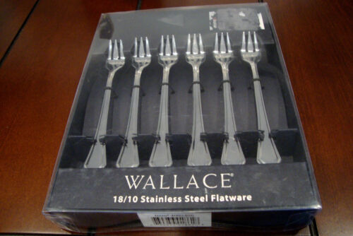 Wallace Stainless Steel 6 Cocktail Forks - New in original box