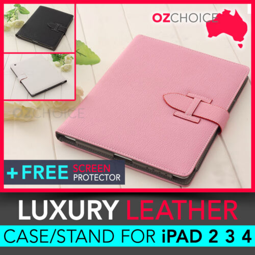 NEW iPad 2 3 4 Ladies Stylish Leather Case Cover Stand Smart Pink White Black