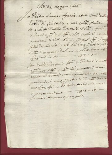 Antique Manuscript 1686 Tax Collection Carriage Station Civitella Tuscany Rare
