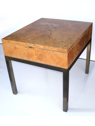 MID CENTURY MILO BAUGHMAN BURLED MAPLE BRASS SIDE TABLE