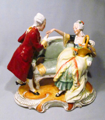 Vintage Germany G H & Co. Porcelain Colonial Man Courting Woman Lovers Figurine