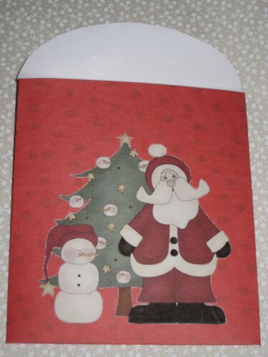 PRIMITIVE SET 4 HOT COCOA PACKET COVERS SANTA AND SNOWMAN PLP9-6