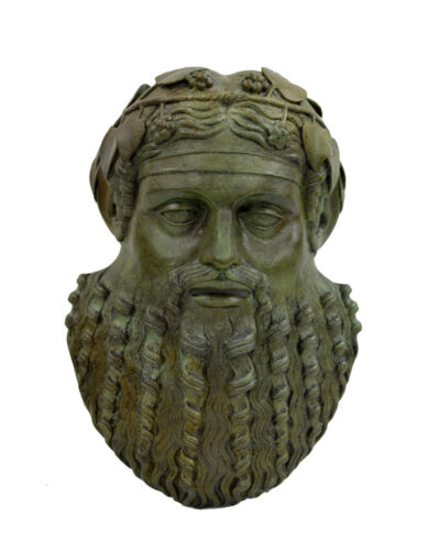 Dionysus Bronze mask of God of  winemaking and wine sculpture artifact mask