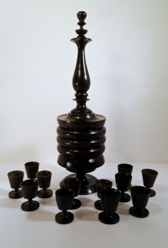 HAND CARVED / TURNED TEAK WOOD DECANTER (3 PIECE) W/12 FTD CORDIAL (1oz) STEMS