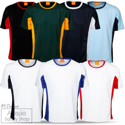 3 X UNISEX OFFICE WORK LEISURE GYM UNIFORMS COOL DRY CONTRAST PANEL T-SHIRTS