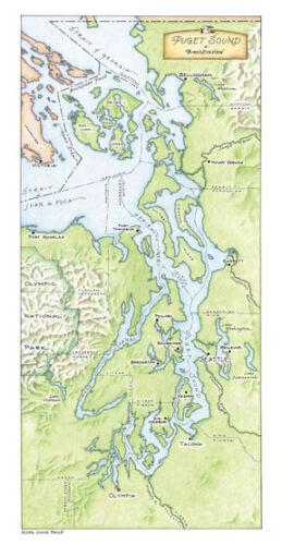Puget Sound: A Bird's Eye-view by Annie Brule Limited Edition Map Signed
