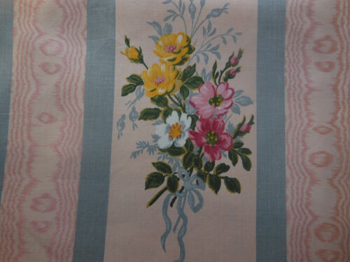 Vintage Retro French Cottage Roses Fabric~ Apricot Pink Blue Yellow~Romanex
