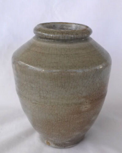 Ancient Early Chinese Celedon Crackle Pottery Vase #1