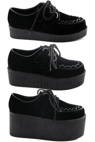 Womens Black Platform Lace Up Ladies Flats Creepers Punk Goth Shoes Size 3-8 <br/> Single Double Triple Height Black Suede Creeper Shoes