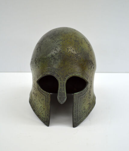 Helmet bronze with nails carvings half size replica Ancient Greek  artifact