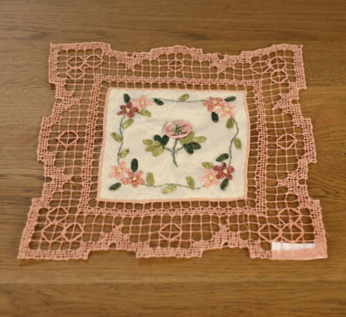 Lace Doily Pink with Ribbon Embroidery Home Decor 23cms BRAND NEW